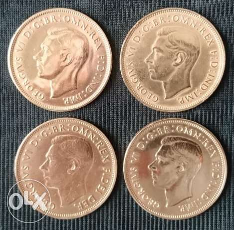 Coin - 4 British Coins Penny. King George VI - UK مسقط -  2