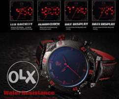New Exclusively Arrival Men's Red LED Day Date/ Analog Leather Band Ar