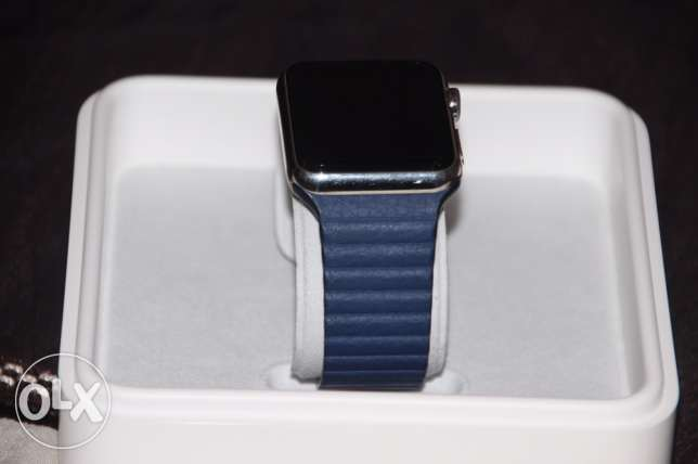 Apple watch Stainless steel with leather case- ساعة آبل ستيل بركاء -  1