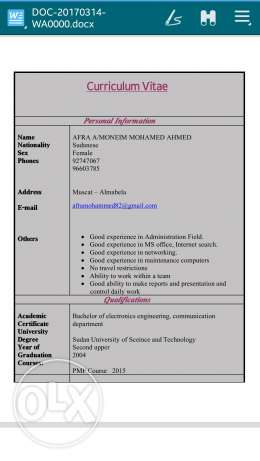 Looking for Admin. Job