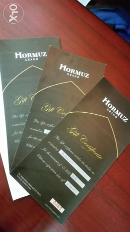 HORMUZ Grand Hotel vouchers. 20ro , 20ro and 10ro available
