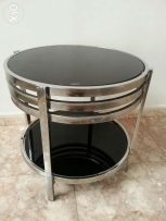Black glass table with salesteel