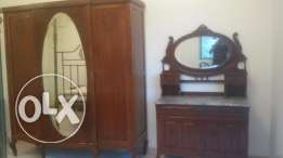 Antique French Bedroom Cupboard, Dressing Table, Side Table