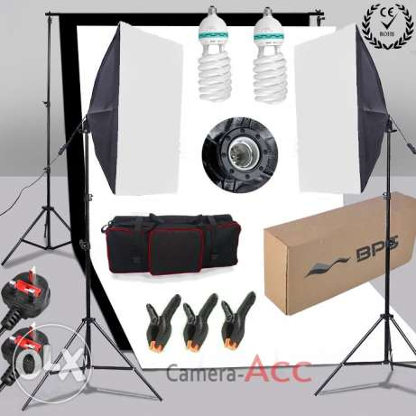 New!! Photo Studio Softbox Continuous Lighting Kit with B/W Backdrop