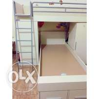 bunk bed with study table, shelves, drawers, cabinet