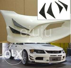 4Pc Universal Car Front Bumper Lip Splitter Fins Body مسقط -  3