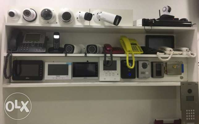 Security divices like cctv cam,security door system,inter com etc
