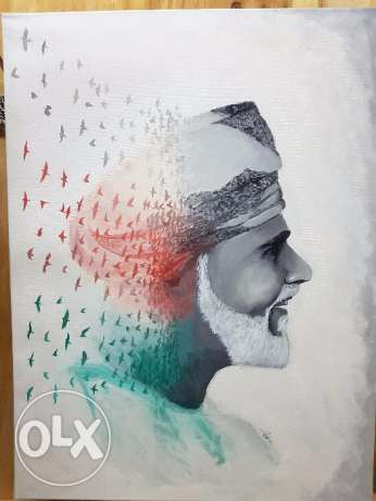 Sultanate of Oman Sultan Qaboos Oil Painting new concept Art in Canva مسقط -  1