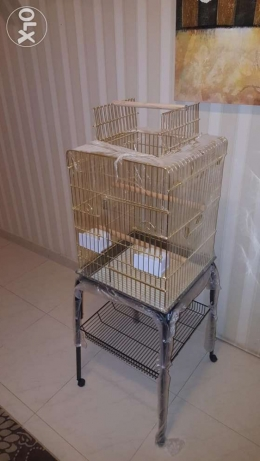 Beautiful Unused Mobile Cage With Built-in Stand For Sale