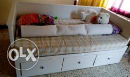 Double wooden bed with drawers for sale