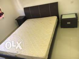 king size bed, mattress and two side tables