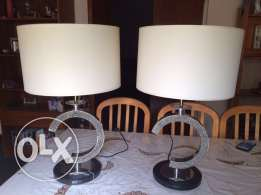 2 Stainless Steel Lamps with Crystal Stone Design
