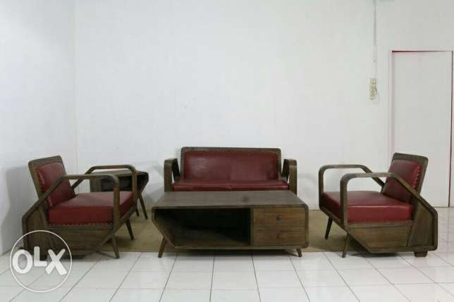 New teak wood genuine leather sofa