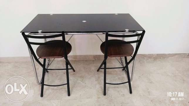 Glass table with chair- small dining table