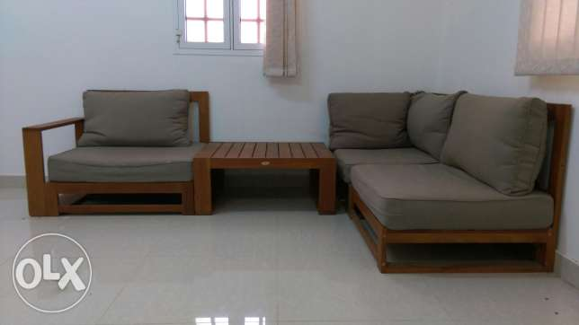 Wooden sofa (3 seats)& table+ 2 high seats+ 2 beach seats for Free