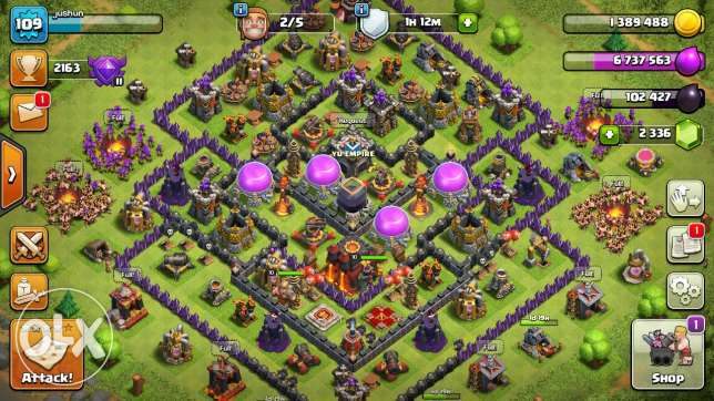 Clash of clans TH10 2000 plus jem and 6 max trops