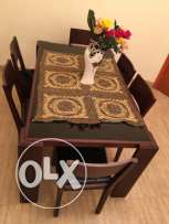 6chair wooden table with glass top & leather chairs