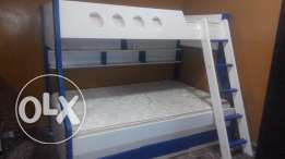 Wooden Bunk bed for kids blue & white