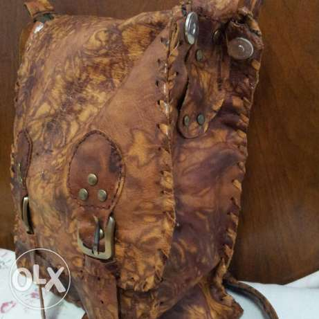 Natural leather bag hand made . بوشر -  1