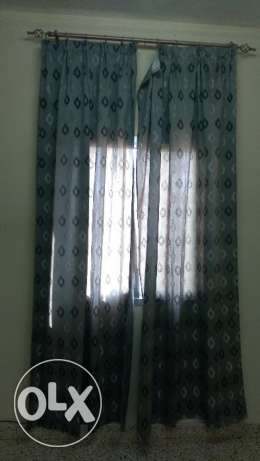 4 curtain set with 3 rods مسقط -  4