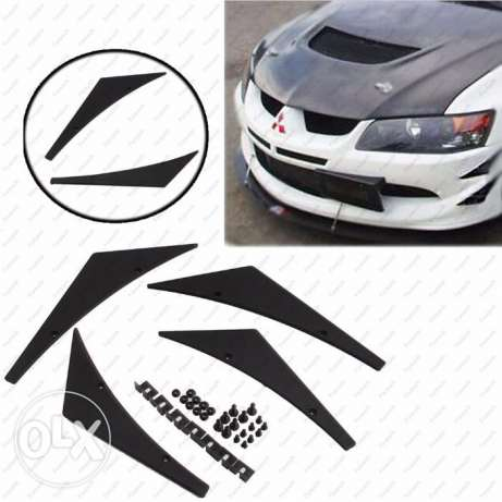 4Pc Universal Car Front Bumper Lip Splitter Fins Body مسقط -  1