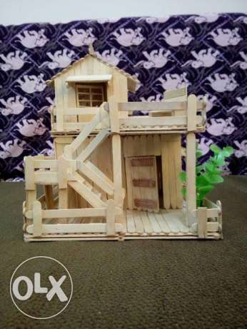 Handmade Popsicle Stick Miniature Pent House