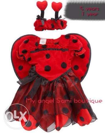 lady bug red and black costume size 5