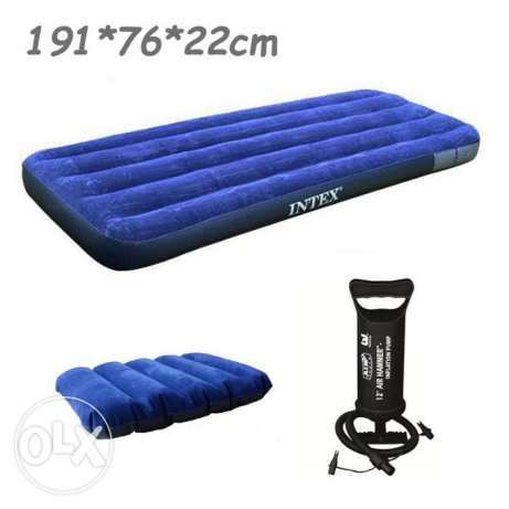intex air bed with pumping machine- 191 xm x 76 cm x 22 cm