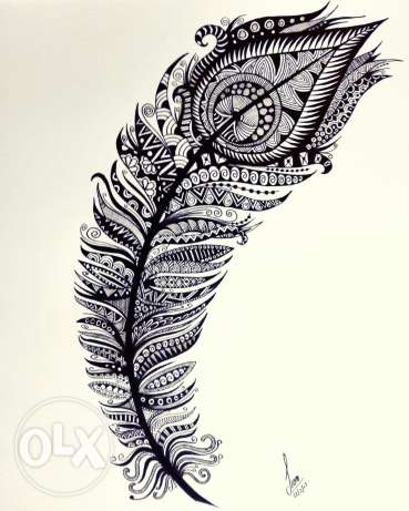 Zentangle Peacock Feather
