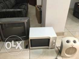 electronic items ( tv -microwave - room heater )