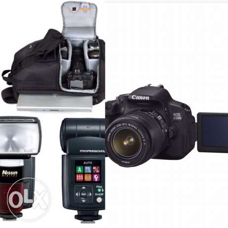 650D canon Touch screen with bag and extra flash مسقط -  1