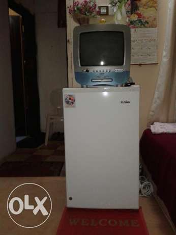 Refrigerator, TV with DVD