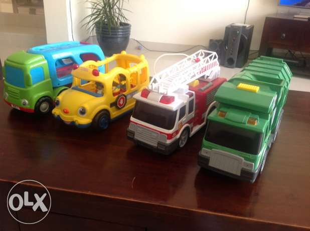garbage truck , fire fighter truck , school bus and ELC truck
