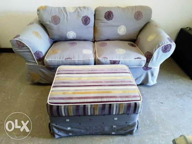 2-seater sofa with ottoman