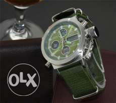 New AMST Watches Men water resistant urgent sale green nilone band