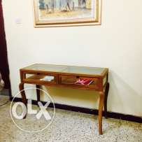 Wooden display table with glass hand made