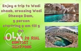 Enjoy a trip to Wadi Shaab crossing wadi dhiqa Dam
