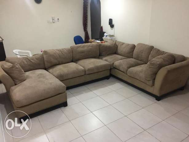 Sofa L Shape and Wooden Coffee Table