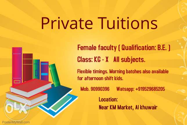 Tuitions offered in al khuwair near KM Market