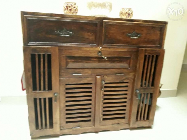 Solid wood antique cabinet with 2 drawers and multiple shelves . Ro 60
