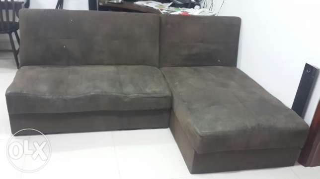 L shape sofa from home centre with attachable handles and huge storage