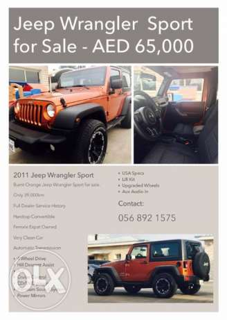 FOR SALE - JEEP WRANGLER SPORT in excellent condition.