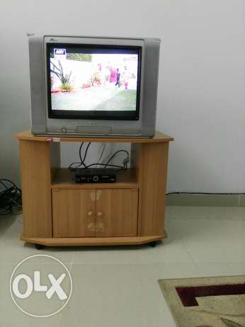"Sharp TV 21"" with TV trolley"
