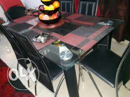 6 chairs glass dining table excellent condition